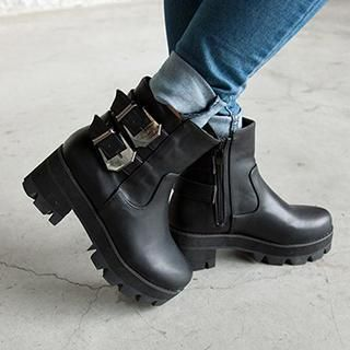 Buckled Chunky-Heel Ankle Boots from #YesStyle <3 Mancienne YesStyle.co.uk