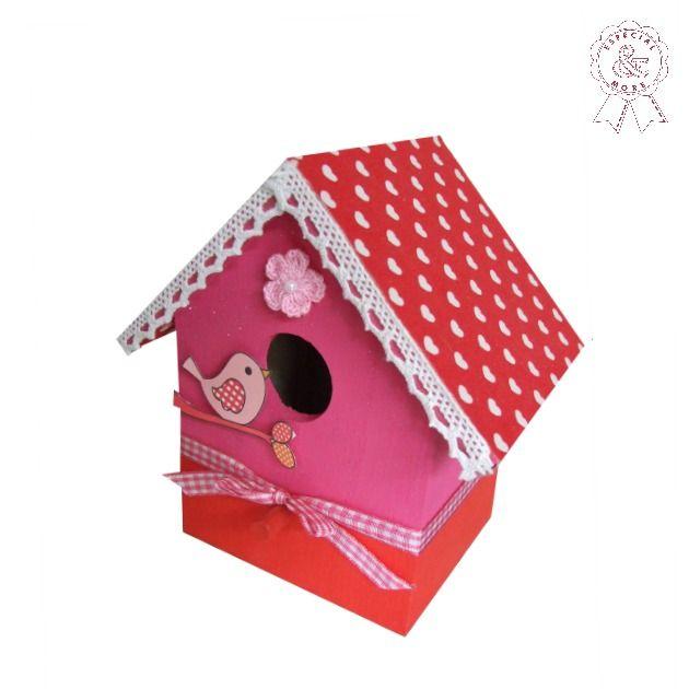 Vogelhuisje maken roze