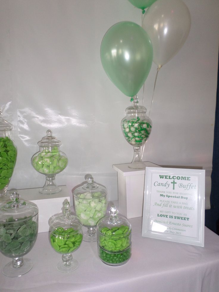 First Communion Candy Buffet. Green Theme ...