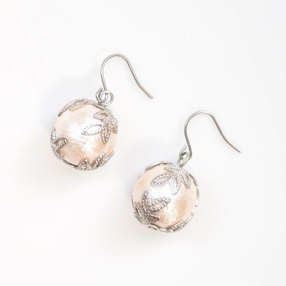 Cotton Pearl Titanium Earrings - 1 pr. $28