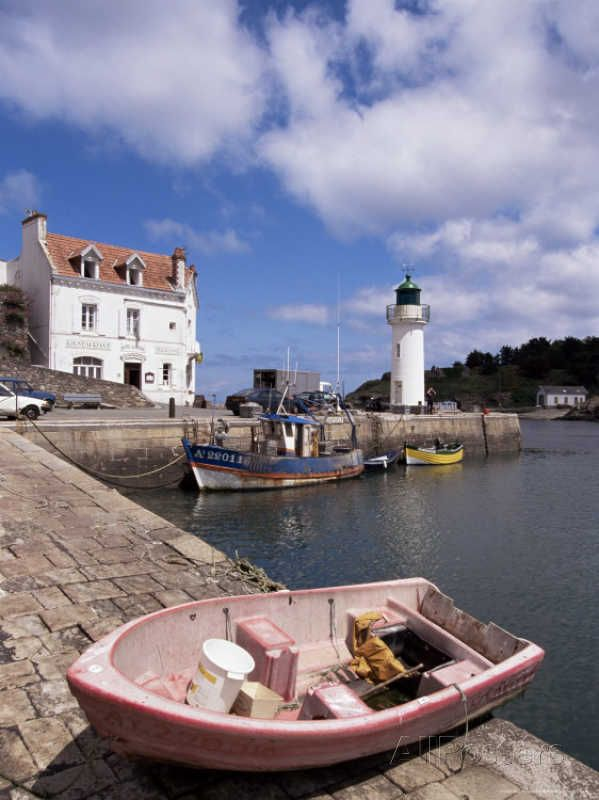 Lighthouse on Waterfront, Port Sauzon, Belle Ile En Mer, Brittany, France