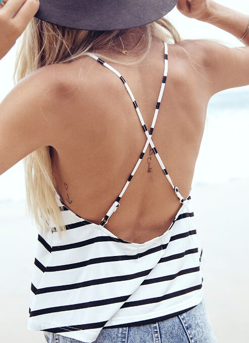 Black White Criss Cross Back Striped Cami Top
