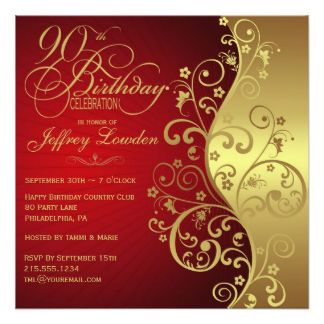 Elegant Red & Gold 90th Birthday Party Invitation