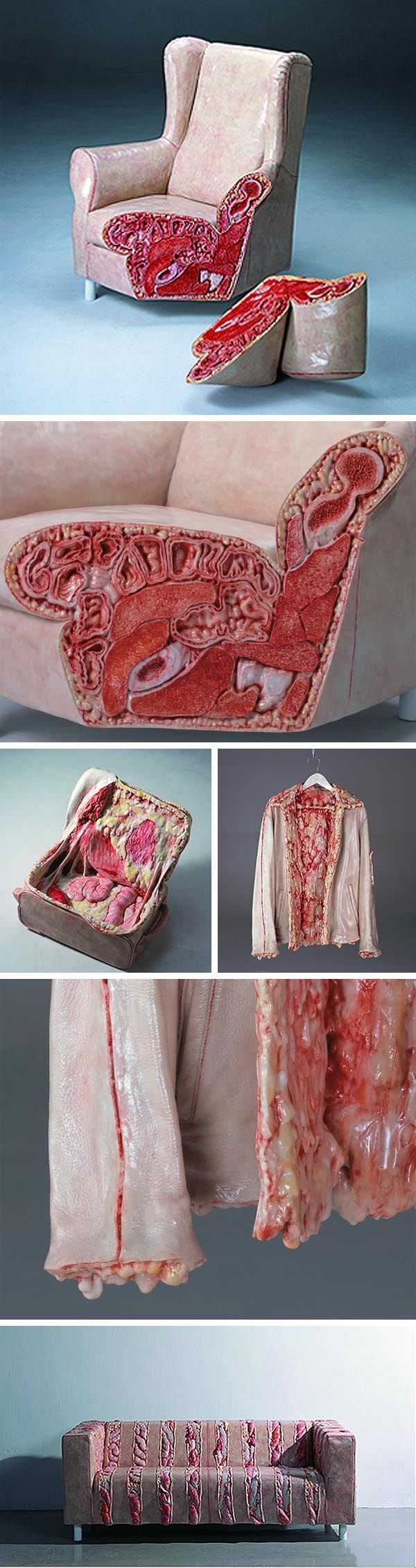 Cao Hui Gutsy sculpture, Resin sculpture with human/animal innards oozing out at seams