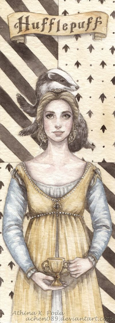 Hufflepuff Bookmark by ~Achen089 on deviantART (repinning because this is the first picture of Helga that isn't a fat old woman)