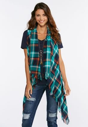 d822d2396e0 Green Plaid Fringe Vest Jackets   Amp   Vests Cato Fashions