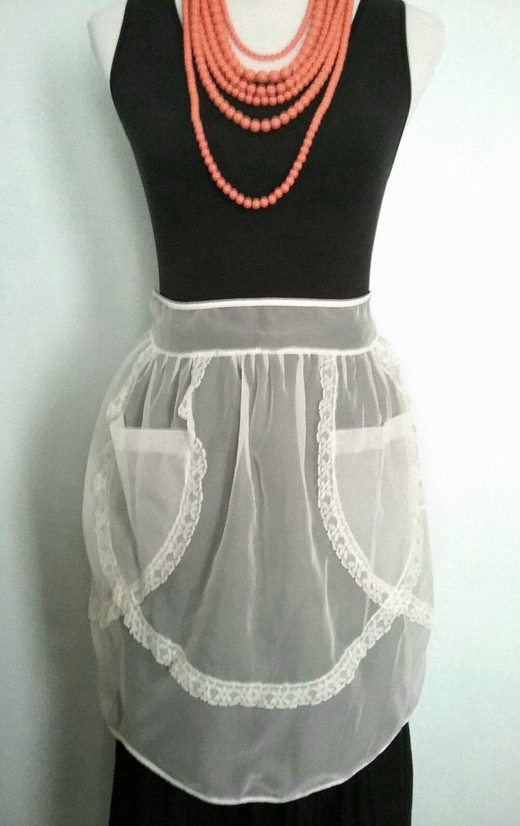 White lace apron wedding - Vintage Apron Sheer Apron Wedding Apron Lace Apron Bridal Apron Half