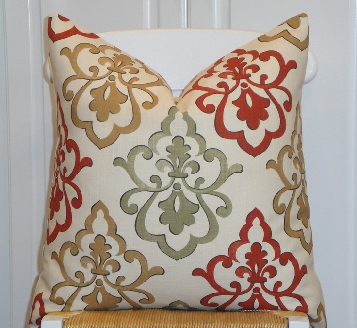 BOTH SIDES - Decorative Pillow Cover - 20 x 20 - Accent Pillow - Sage Green - Golden Brown ...