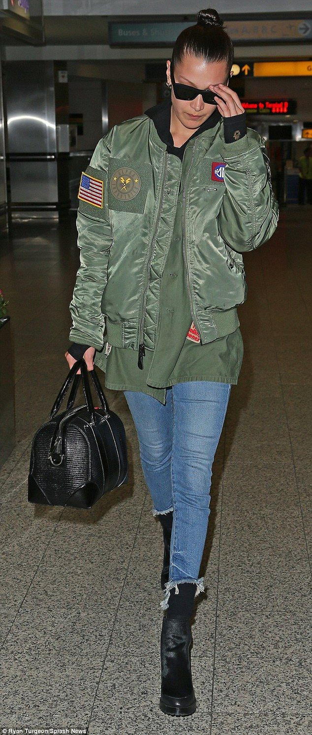 Be a bomber babe like Bella in her Alpha Industries jacket #DailyMail