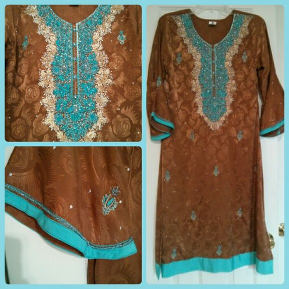 Embroidered shalwar kameez Gorgeous 3 piece rust and turquoise embroidered formal wear shalwar kameez. Heavily embroidered and beaded neckline and smaller motifs throughout kameez front and sleeves. Trimmed with brilliant turquoise. Lovely two tone dupatta.   Chest: 38 Waist: 34  No returns or exchanges. Please comment with any questions or offers. Comes from a smoke and pet free home. Dresses