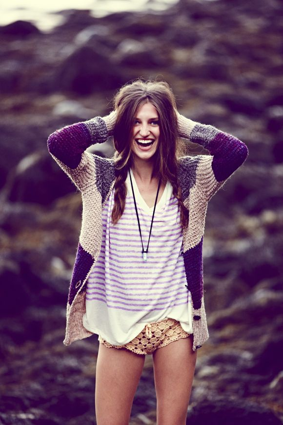stripes / crochet: Summer Outfit, Boyish Style, Crochet Shorts, Beaches Outfit, Crochet Sweaters, Fall Sweaters, Free People, The Heat, Cozy Sweaters