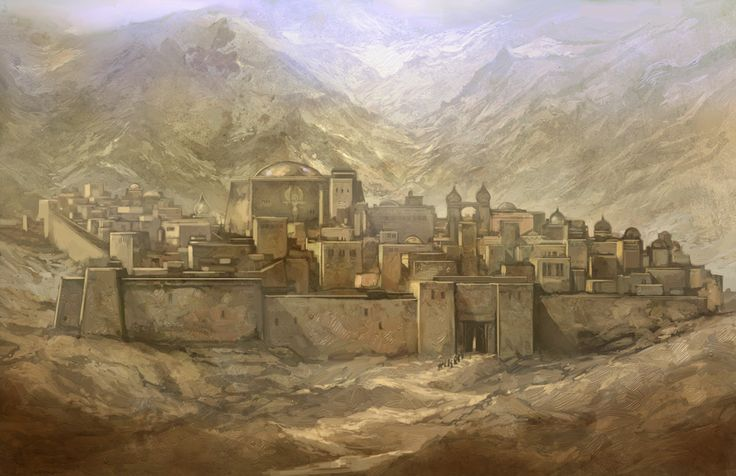 Solku by ~JonHodgson on deviantART painting on building, shapes, windows on wall, colors, could be ancient