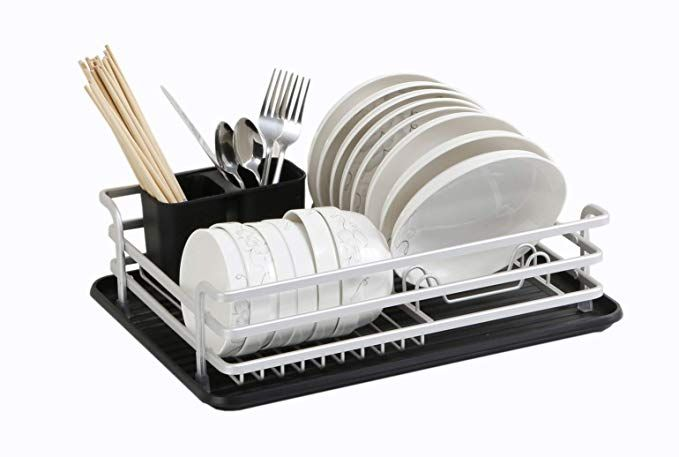 Dish Drying Rack Drying Drainer Rust Proof Top Aluminum With A Drip Tray Review With Images Dish Rack Drying Drip Tray Drying Rack