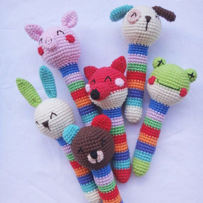 Crochet animal baby rattles + patterns