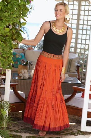 The Celosia Skirt - Lavish beadwork in this exotic crinkle cotton tiered skirt
