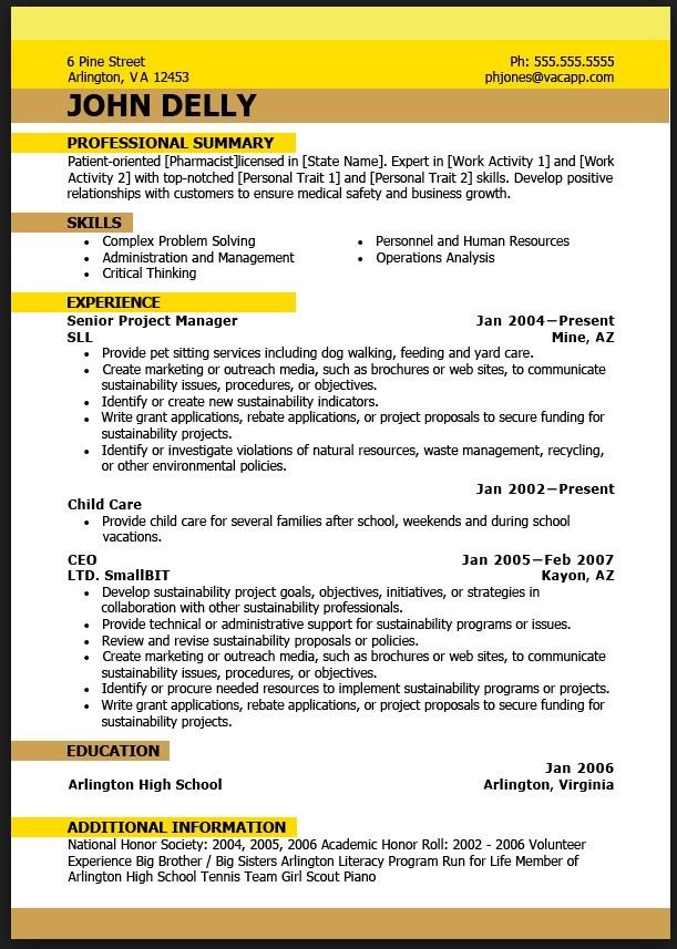 perfect job resume example