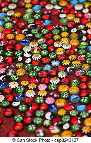 a garden of Painted stones -