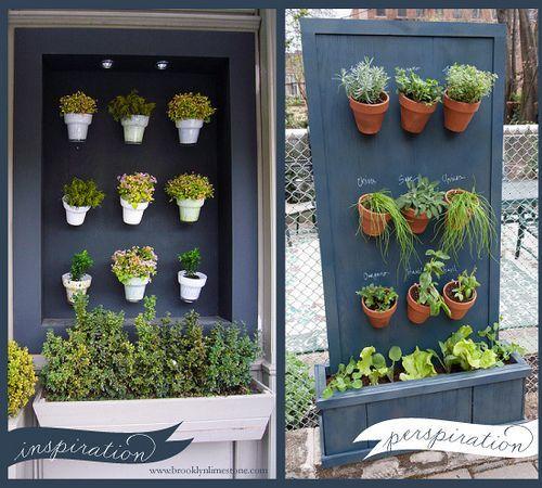 Creative vertical garden ideas using rows of pots on a wall.
