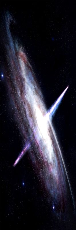 Quasar- this is a black hole that is the brightest object in the universe and is thousands of times brighter than the stars in a galaxy combined! Light is shot out of either end in extremely long distances. The light we see coming from these today is very old meaning there are no quasars recently. They are all from far away but a new one can appear at any moment