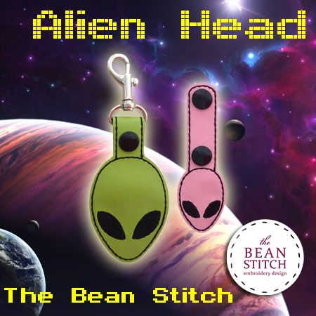 Alien Head - TWO(2) Sizes Included!  #thebeanstitch #beanstitchers #TBS #ith #inthehoop #machineembroidery #felties #feltie #embroidery #digitaldownload #keyfobs #bagtag #diy #snaptab #snapbean #handmade #vinyl #felt #craft #etsy #shopsmall #embroiderygift #travel #everyday #design #multipurpose #space #alien #planet #galaxy #outofthisworld #cool #keychain