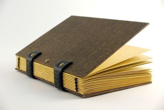 Carnet de notes pour homme, charnières cuir et rivets, feuilles papier kraft de qualité, reliure copte