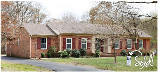 Color brick ranch style houses the price tag for phase one of our curb appeal make over - Red brick house black shutters ...