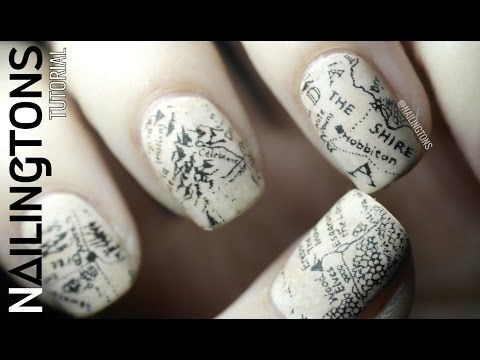 Easy Nail Art: Middle Earth - Hobbit - Lord of the Rings Map Inspired Newspaper Nails Tutorial - YouTube