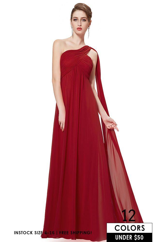 cf3d994b0a Cheap Flowy Beach Wedding Bridesmaid Dress Under $60, Burgundy Long ...