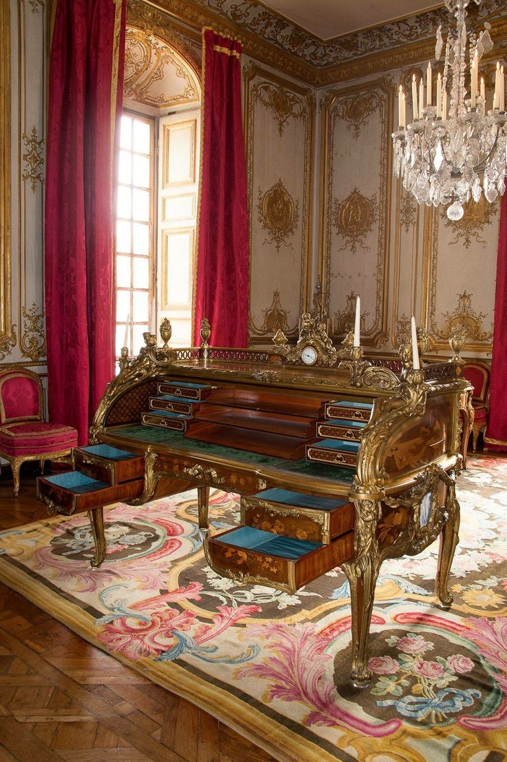 The Desk Of Louis XV, Palace Of Versailles, France.