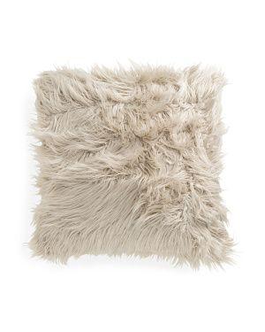26x26 Oversized Faux Mongolian Fur Pillow