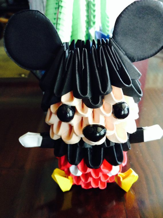 3D origami Mickey and Mini Mouse model pair by ...