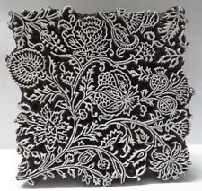 INDIAN WOODEN HAND CARVED TEXTILE PRINTING FABRIC BLOCK STAMP VERY FINE CARVING