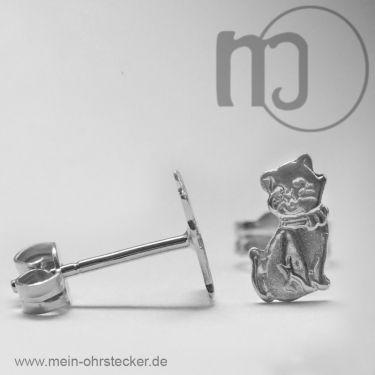 Ohrstecker Katzen in Silber, teilmattiert-177