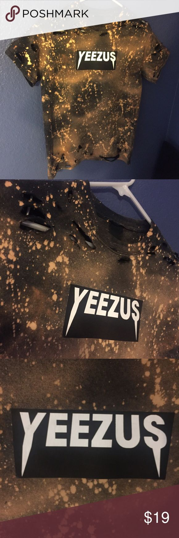 Bleached & Distressed Custom Yeezus Shirt size S Men's S tee, which could fit up to women's L. Distressed at top and bottom of front, along with the sleeves. Can be washed in washer with cold water or hand washed, but must be air dryed!! Never been worn. CHEAPER ON Ⓜ️!!! Ships in 1-3 days. No trades. Thank you! Tops Tees - Short Sleeve