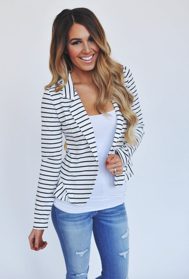 Womens Striped Blazer - Trendy Clothes
