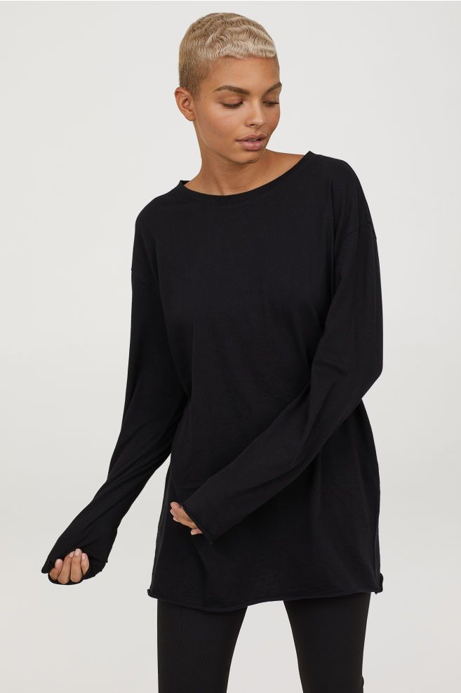 e64208cbb0aede Oversized Jersey Top | Mama Style | Pinterest | Black tops, Tops and ...