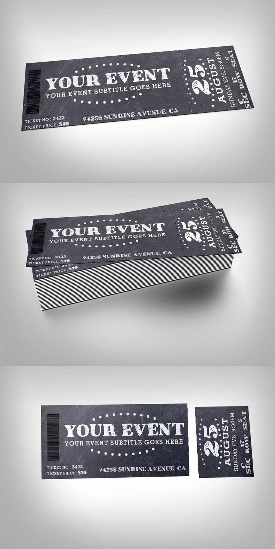 Chalkboard event ticket Template #design Buy Now: https://creativemarket.com/studioweb/339238-Chalkboard-event-ticket?u=ksioks
