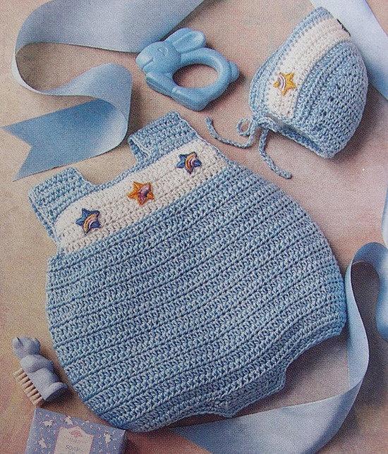 Easy Quick Crochet Pattern Baby Infant Bubbles Romper and Bonnet sz Newborn-12 months