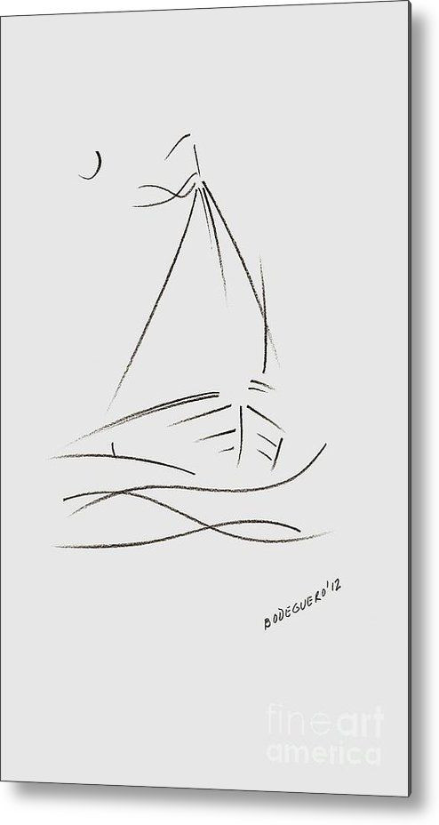 Simple Sailboat Drawing Metal Print by Mario  Perez.  All metal prints are professionally printed, packaged, and shipped within 3 - 4 business days and delivered ready-to-hang on your wall. Choose from multiple sizes and mounting options.