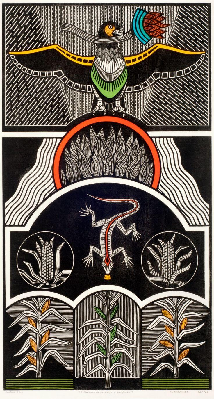 Gilvan José de Meira Lins Samico | A Conquista do fogo e do grão, 2010 | Xilogravura ed 15/120 | 94,8 x 51,3 cm | Foto: João Liberato.                                                                                                                                                      Mais
