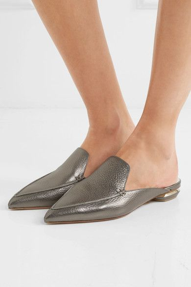 Nicholas Kirkwood - Beya Metallic Textured-leather Slippers - Anthracite - IT40.5
