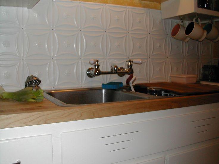 White Kitchens With Tin Back Splash Tin Tile Maple