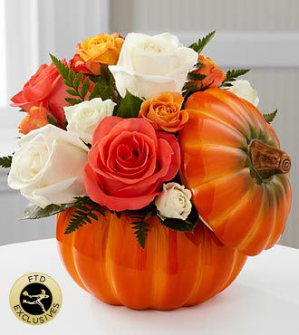 Fall & Thanksgiving Flowers - FTD Bountiful Rose Bouquet - PUMPKIN CONTAINER INCLUDED - $42.00 I will show you how to get this incredible deal. www.WEbWun.com