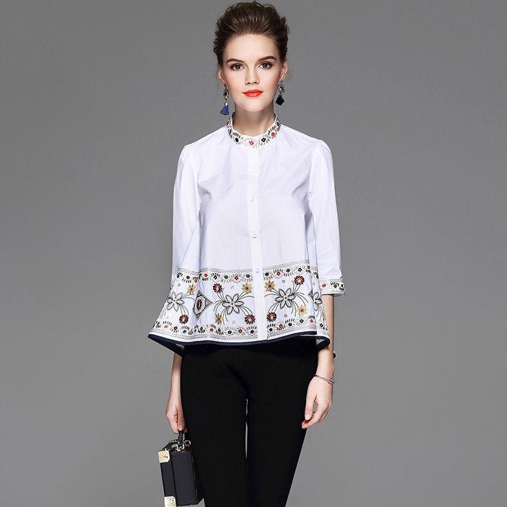 Women's Blouses Tops Summer Fashion Luxury Ethnic Floral Embroidery Cotton White Navy Blusas Women Plus Size XXL Elegant