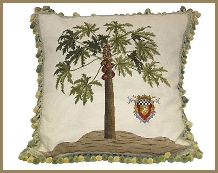 High End Designer Throw Pillows Part - 45: HIGH END PAPAYA NEEDLEPOINT PILLOW #MetrohouseDesigns