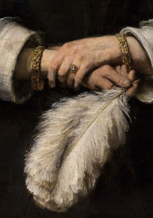 "tierradentro:  Born on this day (07/15/1606): Rembrandt. ""Portrait of a Lady with an Ostrich-Feather Fan"" (detail), c.1660."