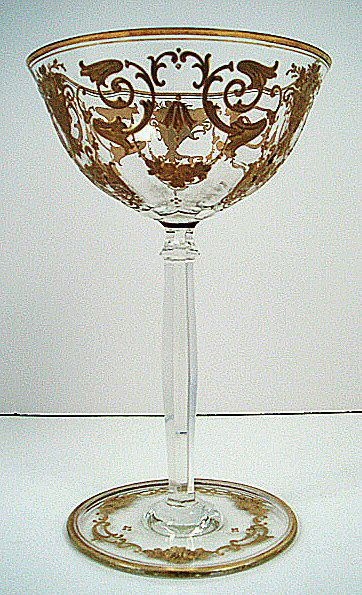 Antique Bohemian enameled crystal champagne glass.