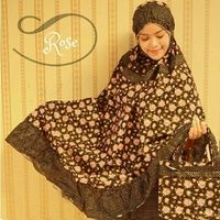 Mukena Cantik Black Rose,  Mukena Katun Jepang