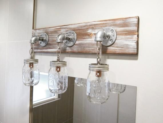 Light Whitewash Mason Jar Light Mason Jar Light Bathroom Light