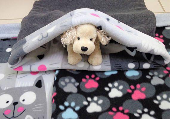 Cat Snuggle Sack Paw Prints Happy Cats Pet Sleeping Bag Sleep